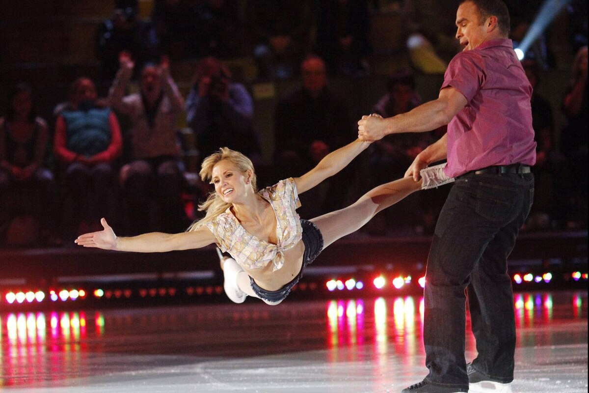 Christine Hough-Sweeney and Tie Domi perform during skate-off episode of CBC television show Battle of the Blades, broadcast on Monday night.