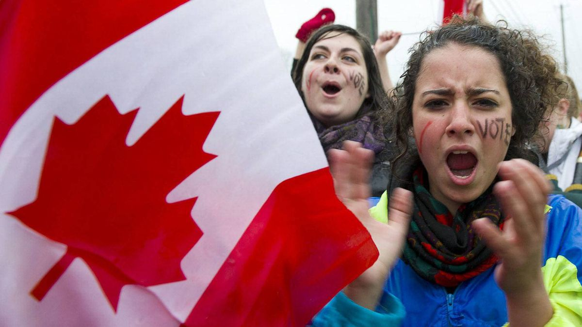 Students at the University of Guelph rallied to remind Stephen Harper that, despite a campaign to lure seniors, they intend to vote, too.