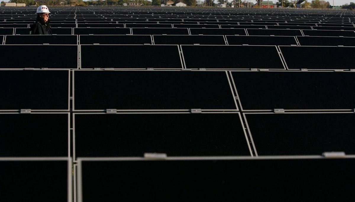 The Sarnia Solar Project, owned by First Solar and Enbridge, at Sarnia, Ont.