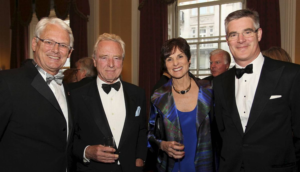 Canada Club Dinner at Travellers Club, Pall Mall, London 21 May 2012. Photographer Amanda Clay. Front row from L to R:- H.E. Gordon Campbell, Nicholas Villiers, Nancy Campbell, William Smith