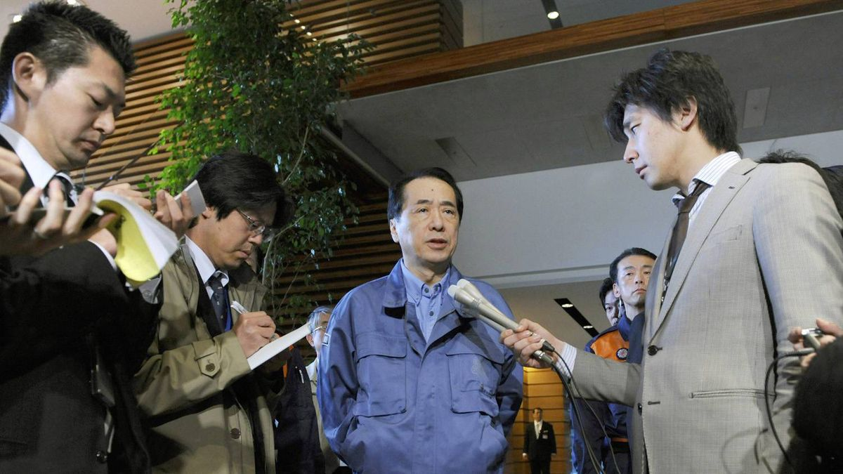 apan's Prime Minister Naoto Kan speaks to the media prior to his inspection tour of the country's biggest recorded earthquake aboard a military helicopter, at his official residence in Tokyo on Saturday, March 12, 2011.