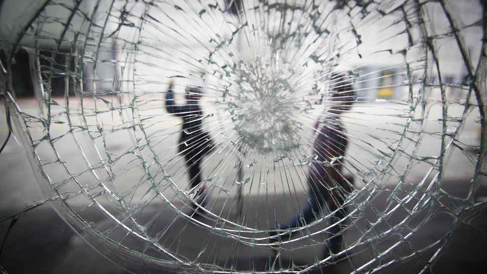 A store front window damaged during the Stanley Cup riot in Vancouver, seen here June 23, 2011.