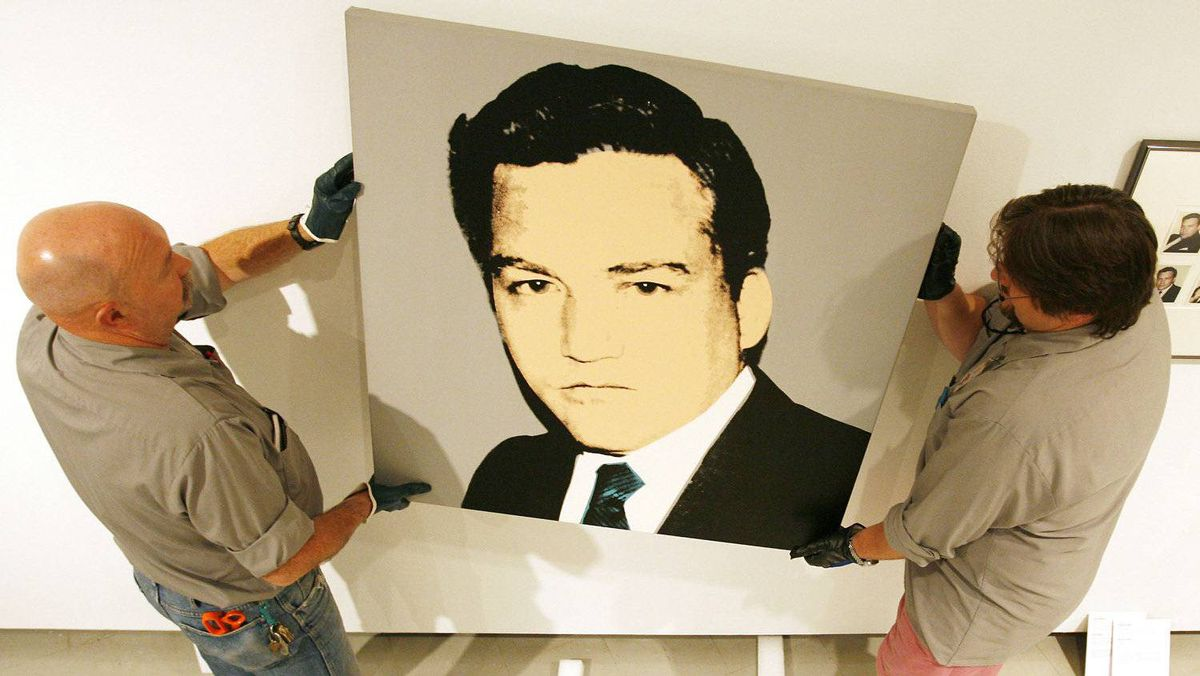 Andy Warhol's 'Conrad Black, 1982' acrylic on canvas being put on display at the Winnipeg Art Gallery Sept. 27, 2007. The piece was a gift from Black.