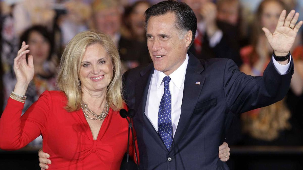 Mitt Romney and his wife Ann wave as they leave a rally in Schaumburg, Ill., after winning the Illinois Primary on March 20, 2012.