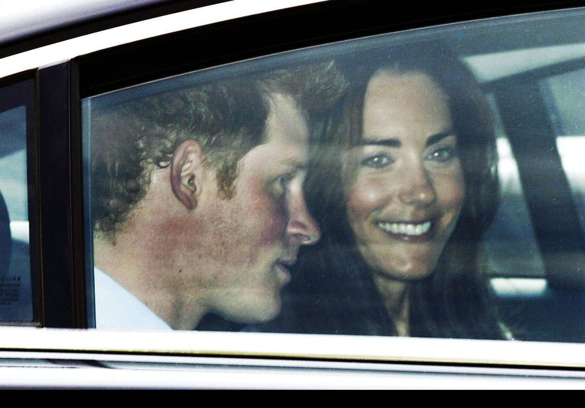 Kate Middleton, right, and best man Prince Harry leave Westminster Abbey in London after a rehearsal for the royal wedding.