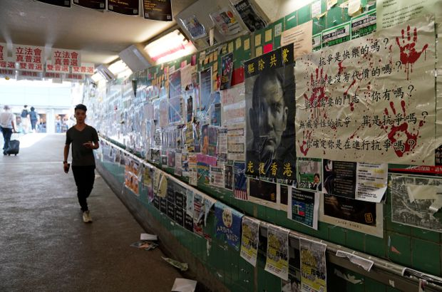 Pro-Beijing supporters tear down Hong Kong's anti-government 'Lennon Walls'