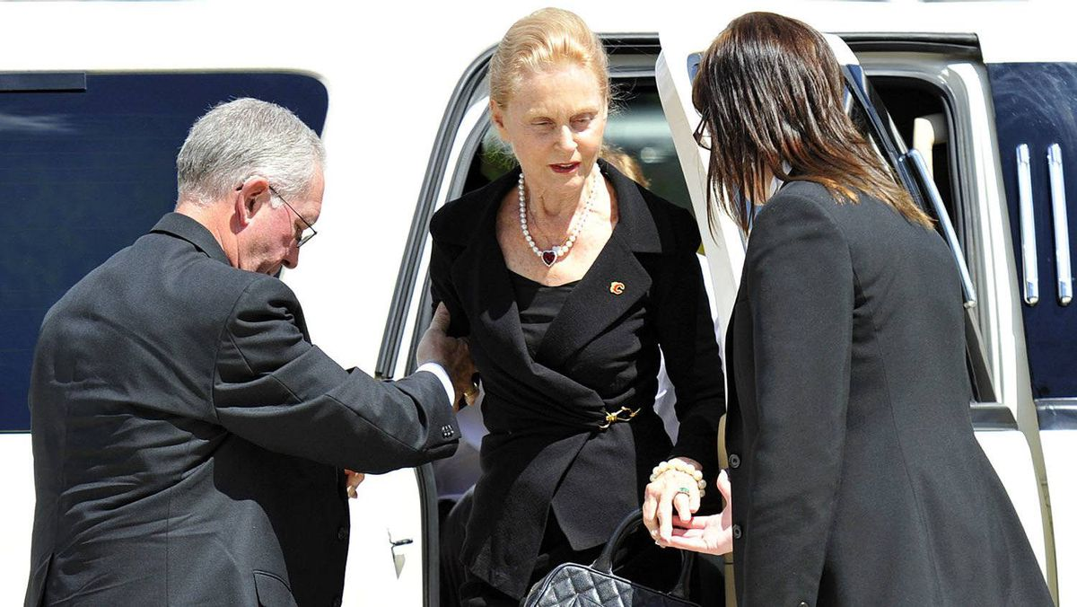Becky Hotchkiss arrives at the funeral for her husband former Calgary Flames owner Harley Hotchkiss in Calgary, Alberta, June 29, 2011.