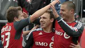 Toronto FC celebrates Danny Koevermans #14 goal against New England Revolution during MLS action at BMO Field October 22, 2011 in Toronto, Ontario, Canada. (Photo by Abelimages/Getty Images)
