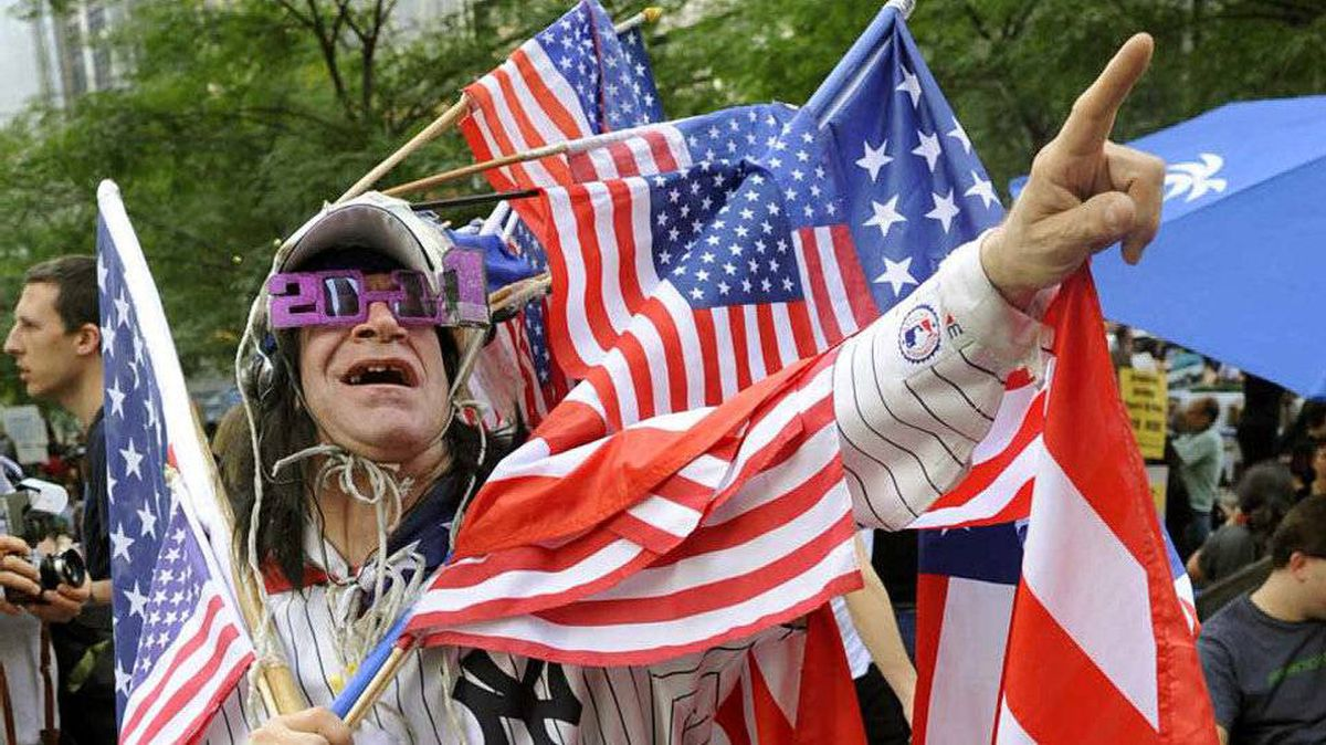 Demonstrators with the Occupy Wall Street protest at Zuccotti Park on October 10, 2011 in New York.