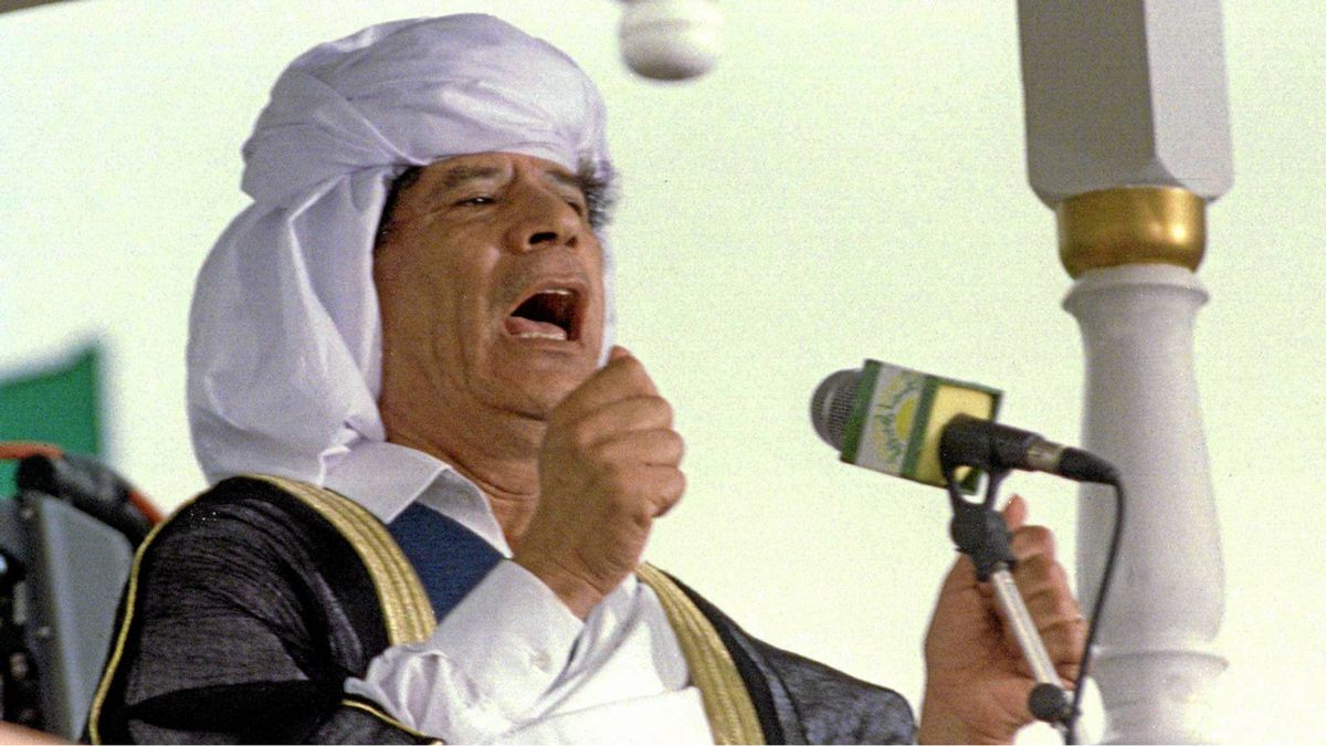 Libyan leader Moammar Gadhafi shouts and gestures as he preaches during Friday prayers in N'adjamena May 1, 2011.