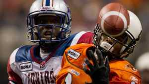 B.C. Lions' Arland Bruce III, right, just misses making the reception as Montreal Alouettes' De'Audra Dix looks on during the second half of a CFL football game in Vancouver, B.C., on Saturday November 5, 2011. THE CANADIAN PRESS/Darryl Dyck