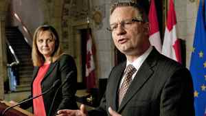 International Trade Minister Ed Fast takes questions with his Danish counterpart Pia Olsen Dyhr at an Ottawa news conference on April 23, 2012.