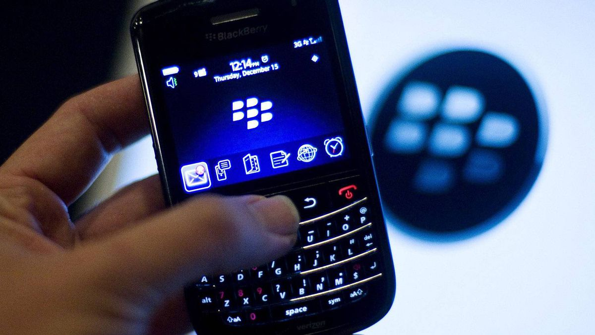 A BlackBerry handset is displayed in Washington, in this December 15, 2011, file photo.