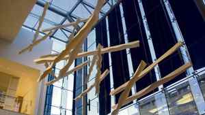 AMONG GIRARDIN?S LARGE-SCALE SCULPTURAL WORKS ARE THESE FRENCH-FRY-LIKE STRIPS FOR SIMONS IN QUEBEC.