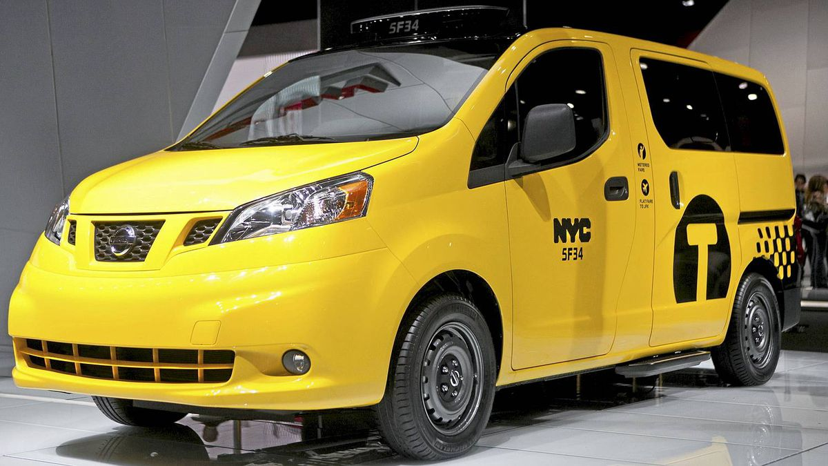 The Nissan NV200 taxi van is seen during the 2012 New York International Auto Show at the Javits Center in New York, April 4, 2012. REUTERS/Andrew Burton (UNITED STATES - Tags: BUSINESS TRANSPORT)