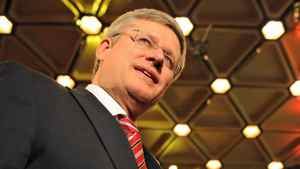 Prime Minister Stephen Harper arrives at the National Arts Centre in Ottawa for a gala film screening on Oct. 3, 2011.
