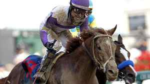 I'll Have Another, with jockey Mario Gutierrez in the irons (L), wins the 138th Kentucky Derby ahead of Bodemeister, with jockey Mike Smith in the irons, at Churchill Downs in Louisville, Kentucky, May 5, 2012. REUTERS/John Sommers II