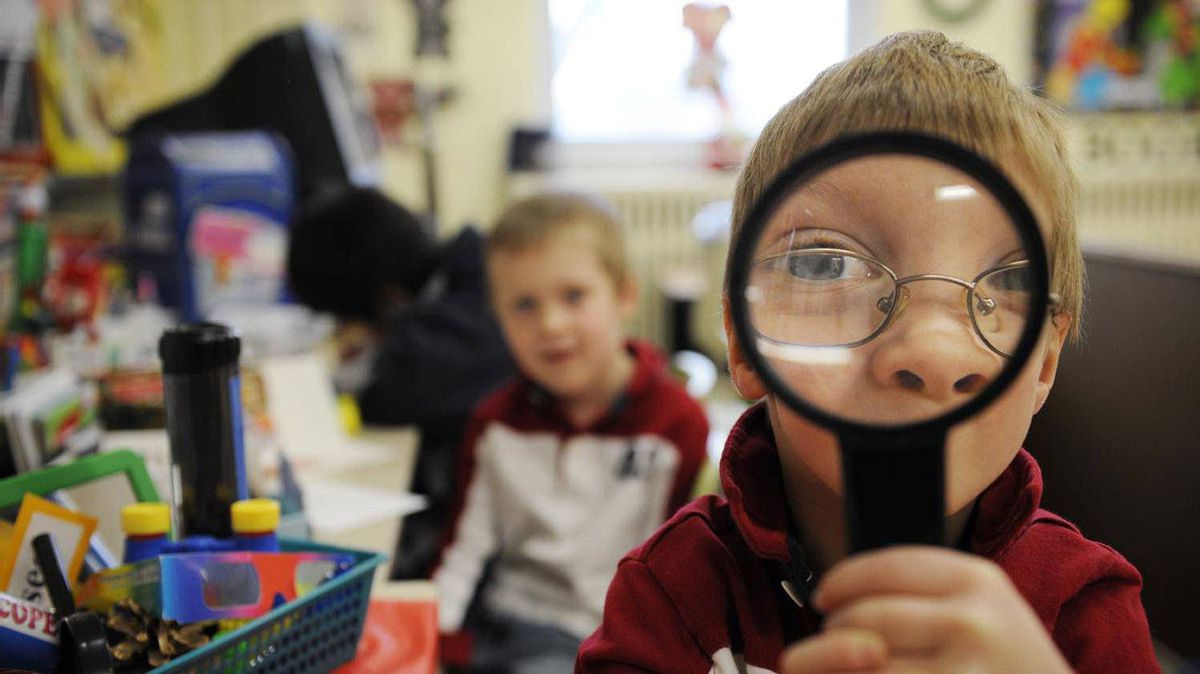 Kindergarten students at St. Thomas More Catholic School in Scarborough, Ont.