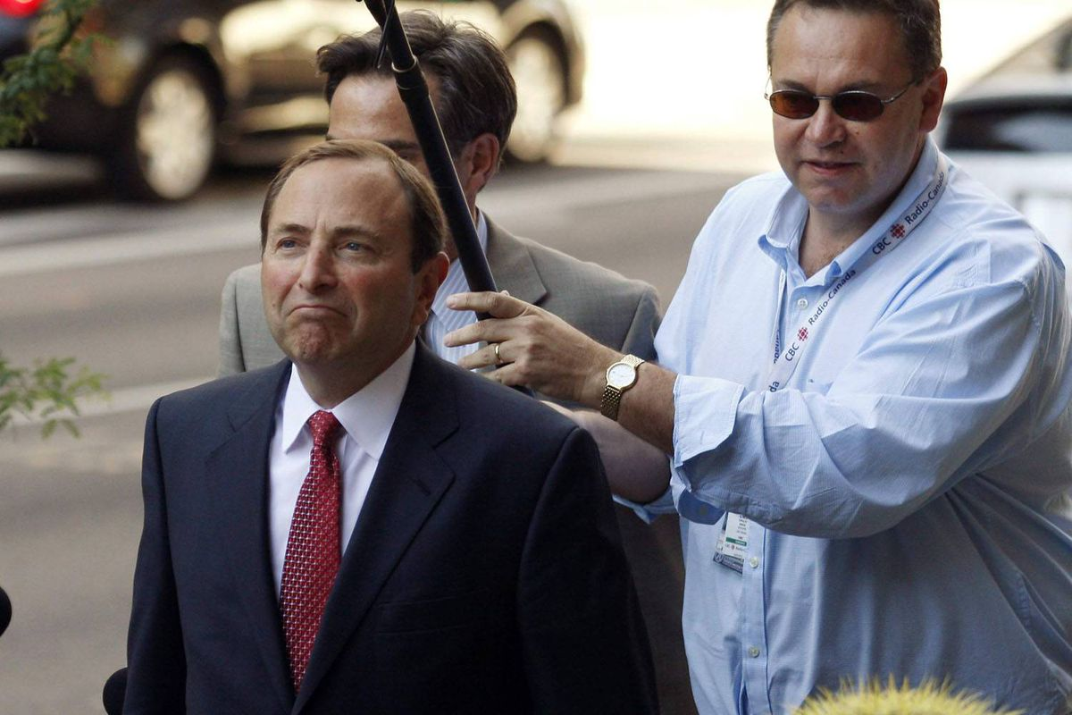 NHL commissioner Gary Bettman arrives at U.S. Bankruptcy Court in Phoenix on Friday.