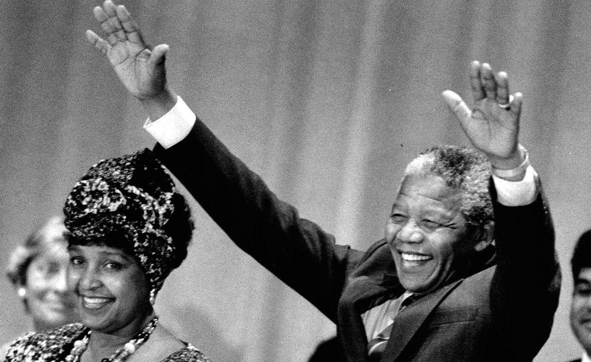 Winnie Mandela and Nelson Mandela during their visit to Toronto June 19, 1990.