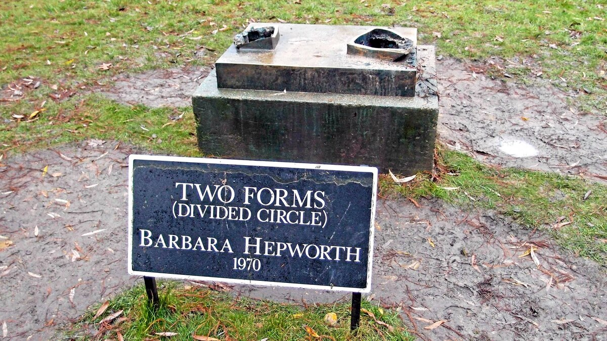 """The plinth of the stolen Barbara Hepworth sculpture """"Two Forms (Divided Circle)"""" is seen in Dulwich Park in southeast London, on Dec. 21, 2011."""