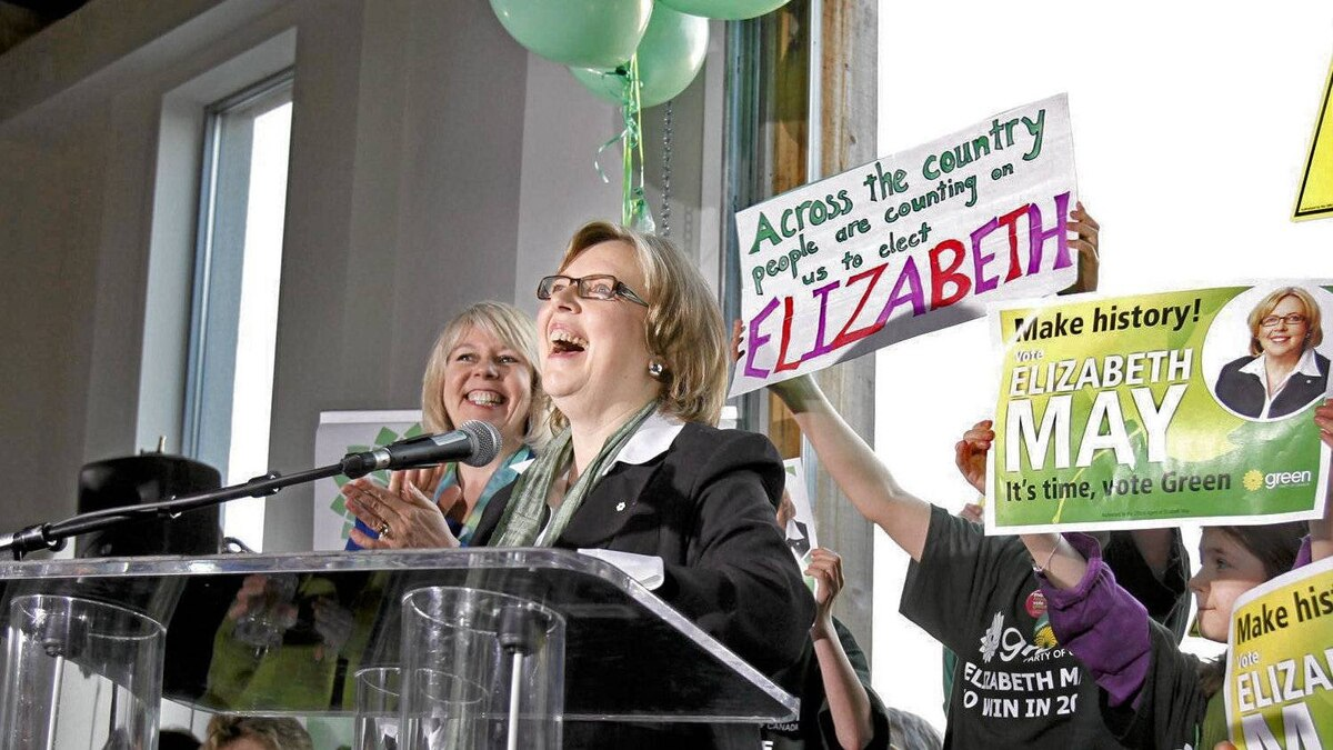Green Party leader Elizabeth May kicks off her national election campaign bright and early as the sun rose at Sea Cider Farm and Ciderhouse in Saanichton, near Victoria, British Columbia, on Saturday morning, March 26, 2011.