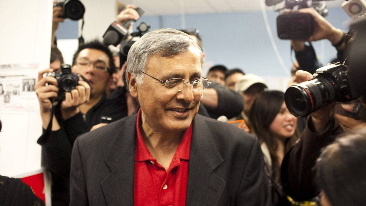 Vancouver South Liberal incumbent Ujjal Dosanjh makes his way through media at his campaign headquarters after conceding defeat to Conservative Wai Young May 2.