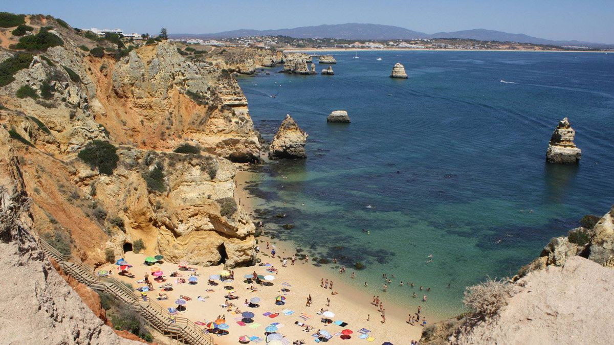 Camilo beach, one of several along the coast in Lagos, Portugal.