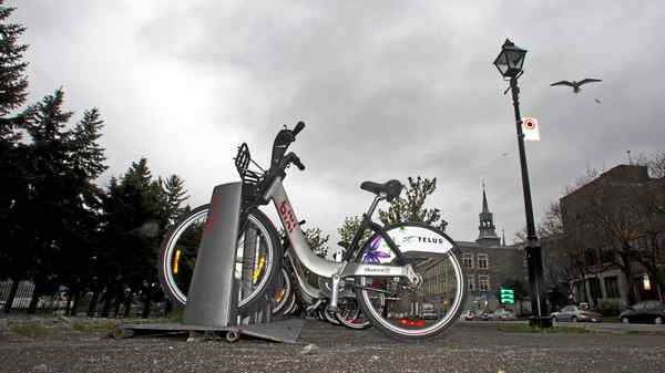 A Bixi bike stand in Old Montreal on May 17.