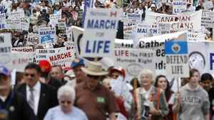 Thousands of Anti-abortion activists march down Elgin St. in Ottawa during the National March for Life on Thursday, May 13, 2010.