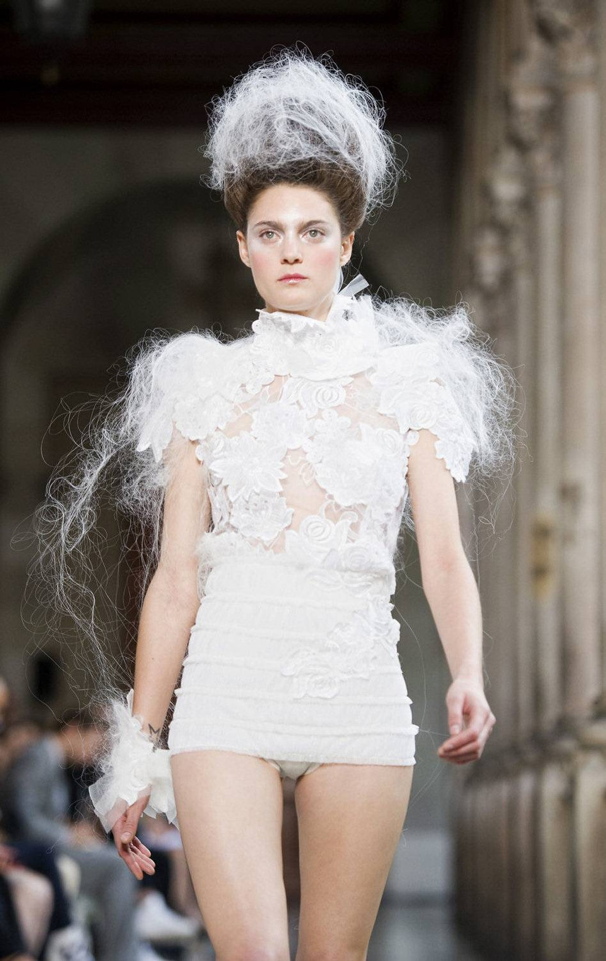 A model walks the runway during the Celia Vela catwalk show as part of the 080 Barcelona Fashion week on July 14, 2011.