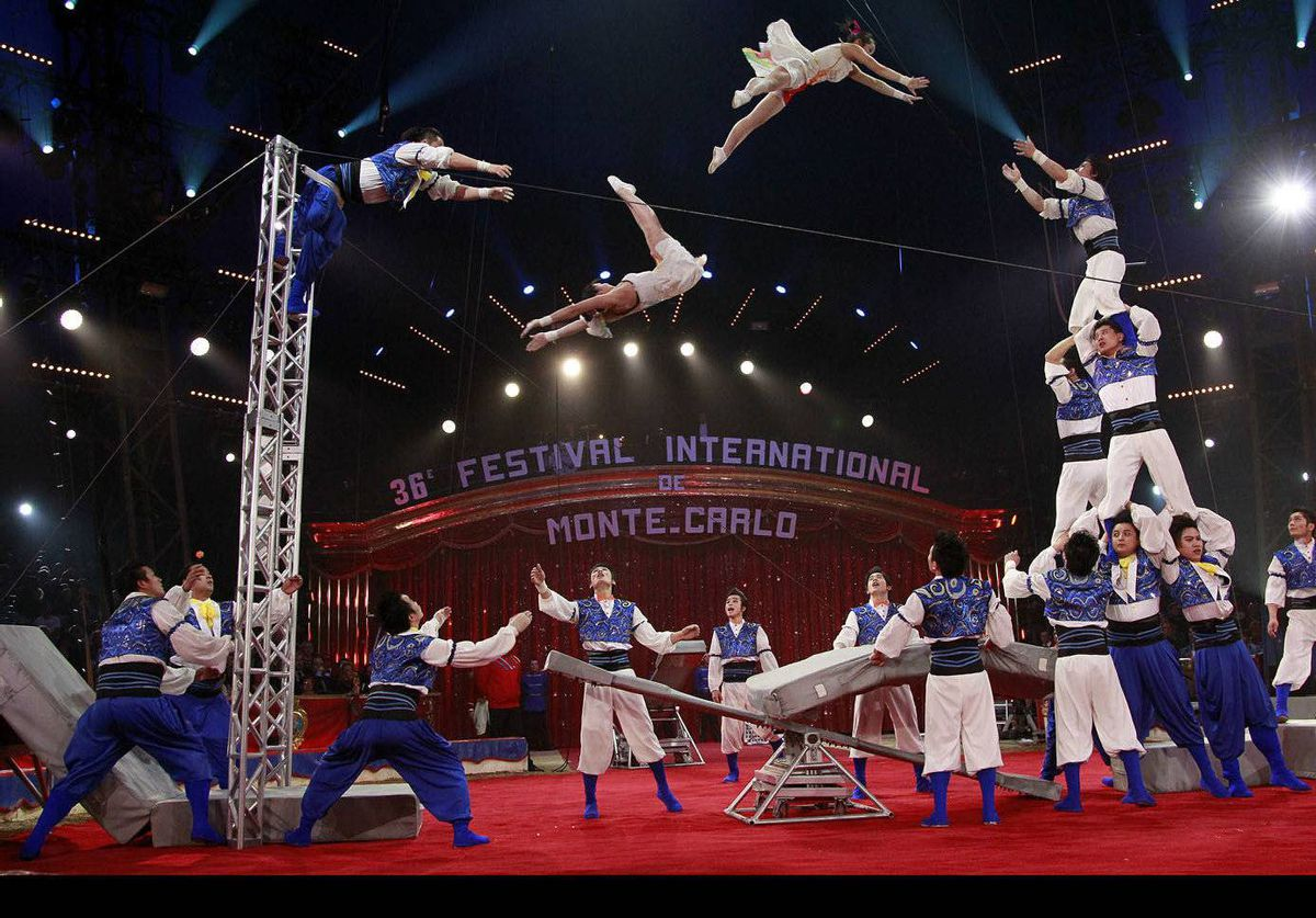 The Shanghai Acrobatic Troupe performs during the opening ceremony of the 36th International Circus Festival of Monte Carlo in Monaco.