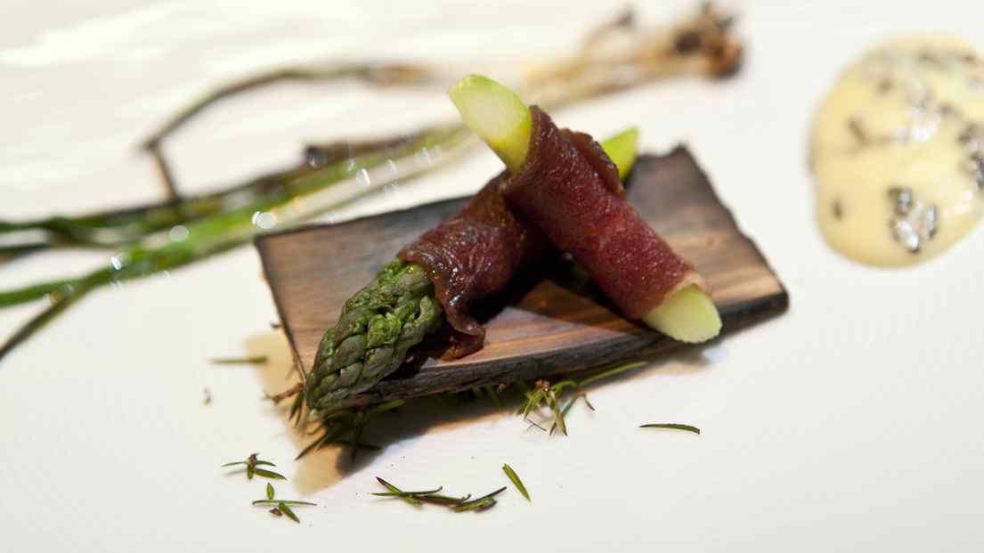 Carpaccio of smoked moose, Alexander Restaurant in Estonia.