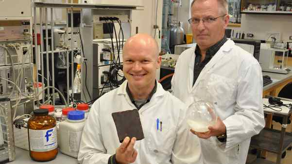 The University of Guelph's Robert Lencki, right, and John Craven have discovered a process that may lead to healthier chocolate.
