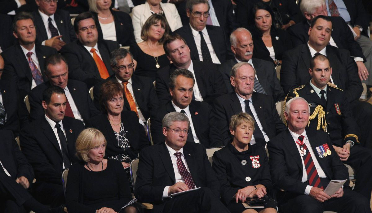 Dignitaries including Prime Minister Stephen Harper and his wife Laureen (bottom left) and Gov.-Gen. David Johnston and his wife Sharon (bottom right) attend the state funeral of the late NDP leader Jack Layton.