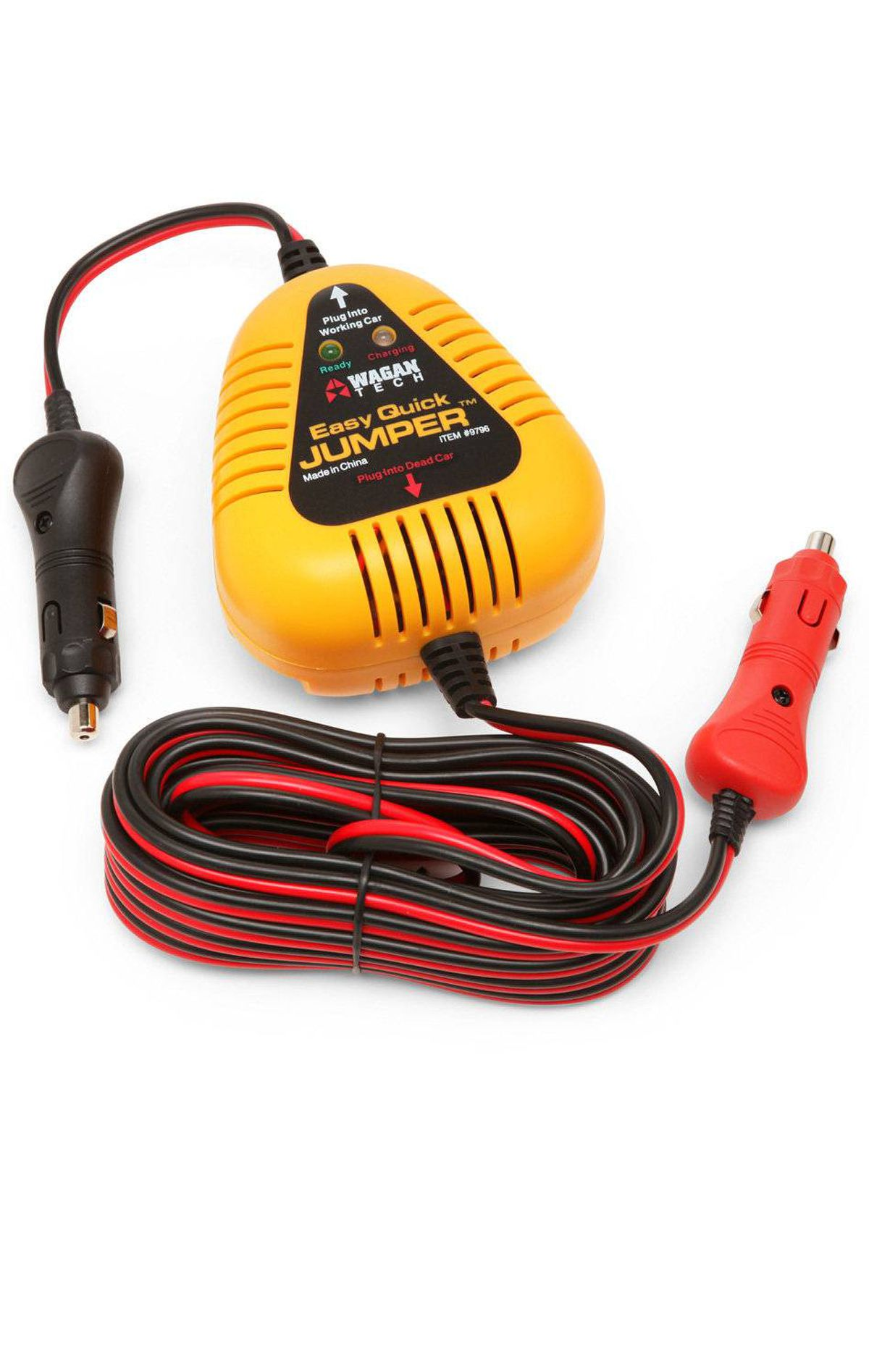 Closed-hood car jump-starter Forget fumbling around inside the hood and praying you connected your wires right when trying to jump-start your car. Just connect the Wagan Easy Quick Jumper via both cars' cigarette lighter outlets, wait 5 to 10 minutes and when the light goes green you're ready to start up. Comes with 18-foot long cord. ($24.99 at Thinkgeek.com)