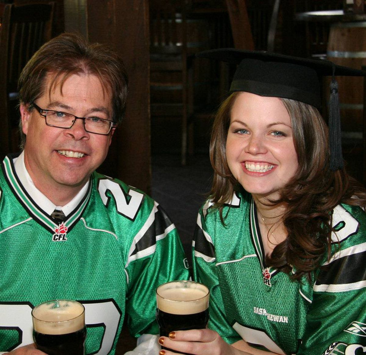 My parents came out to Halifax for my MBA graduation. Being true Saskatchewan Roughrider fans, my dad and I donned our jerseys while having celebratory beers at the Halifax Ale House.