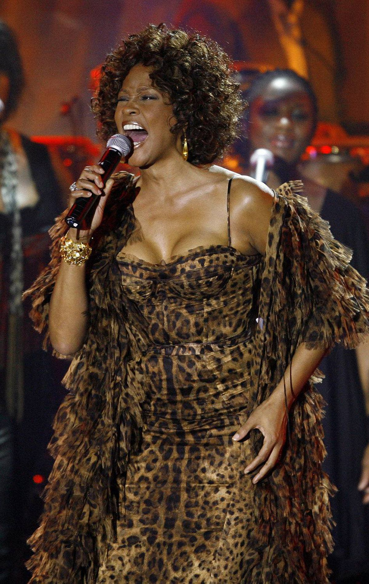 Ms. Houston performs at the 2009 Grammy Salute to Industry Icons event to honour her mentor, Clive Davis, in Feburary, 2009.