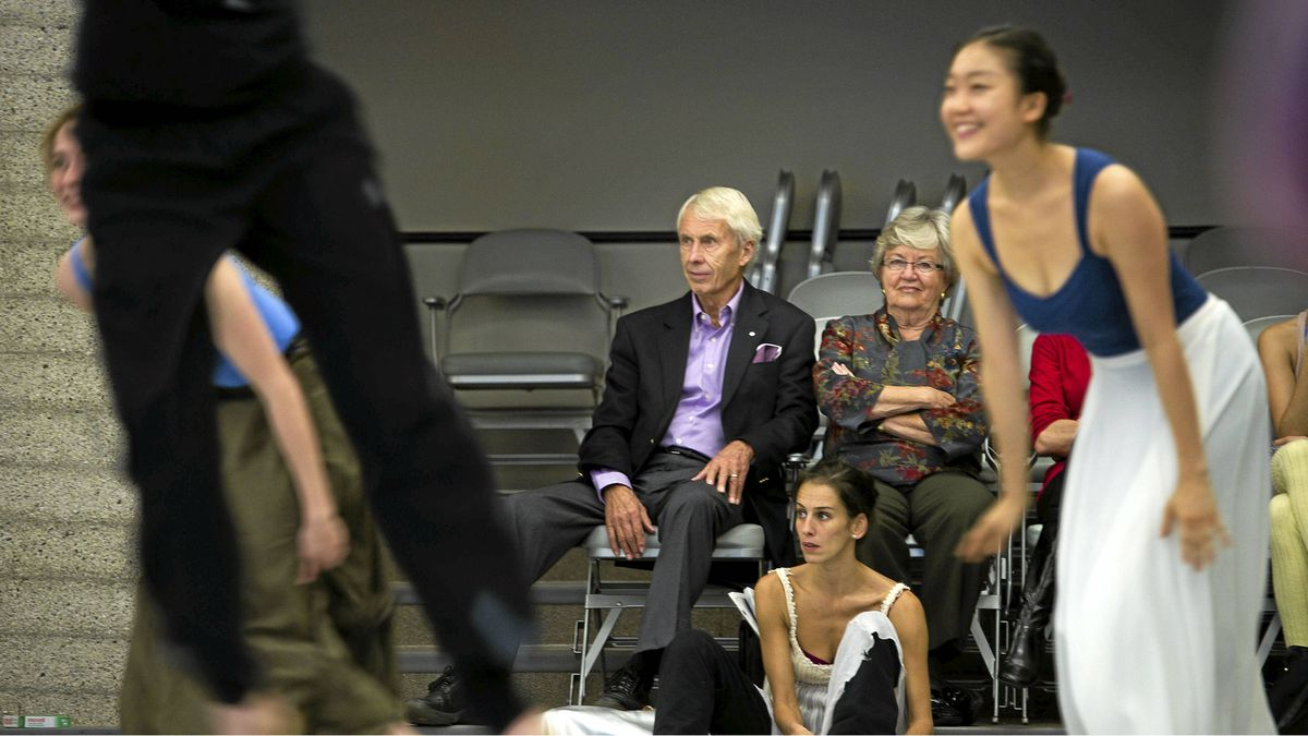 Jim and Sandra Pitblado watch a rehearsal at the National Ballet of Canada in Toronto, Oct. 26, 2011.