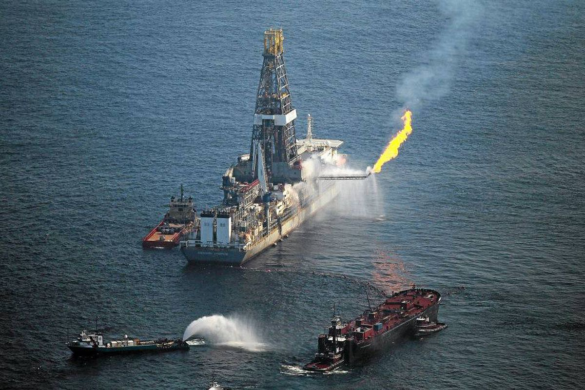 A flare burns from a drill ship recovering oil from the ruptured BP oil well in the Gulf of Mexico.