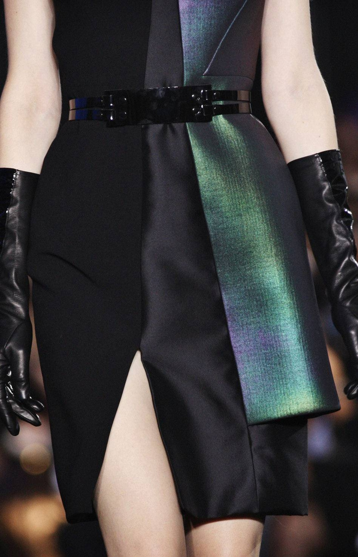Gradually, he transitioned into a series of pieces with printed neoprene panels that boasted oil slick iridescence.