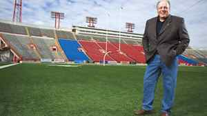 John Forzani, Chairman of the Calgary Stampeders, is a Canadian businessman and former CFL player with 7 years with the Stampeders. Forzani is Founder and Chairman of the Board of The Forzani Group Ltd. (FGL), Canada?Ü?s largest and only national sporting goods retailer. He was photographed on the field on Tuesday, June 01, 2010.