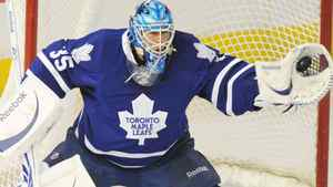 Toronto Maple Leafs goalie Jean-Sebastien Giguere makes a glove save against the Edmonton Oilers during first period NHL action in Edmonton on Tuesday, December 14, 2010. THE CANADIAN PRESS/John Ulan