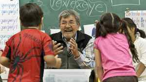 A native elder speaks with students in a traditional language class at Chief Atahm School in Chase, B.C., on Nov. 17, 2010.