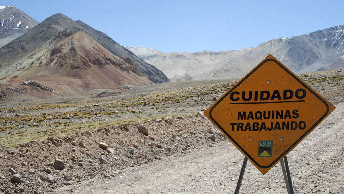 A traffic sign is seen near Barrick Gold Corp.'s Veladero gold mine in Argentina. Argentine government economic policies and capital restrictions are prompting Canadian mining firms to rethink projects in the Andean country.