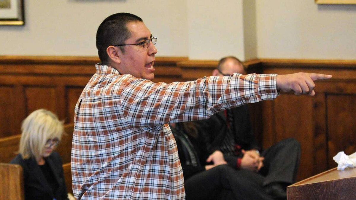 Thomas Runnig Rabbit IV speaks during the clemency hearing of Ronald Smith, Wednesday morning May 2, 2012 in Powell County District court in Deer Lodge, Mont..