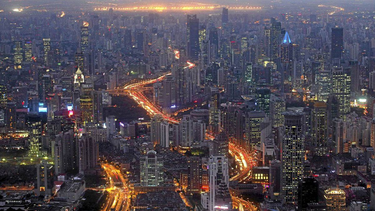 A view of the city skyline from the Shanghai Financial Center building, October 25, 2011.
