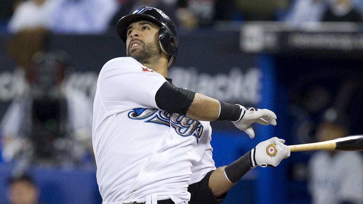 Toronto Blue Jays Jose Bautista flies to left against Seattle Mariners during the third inning of American League baseball action in Toronto on Wednesday September 22 , 2010