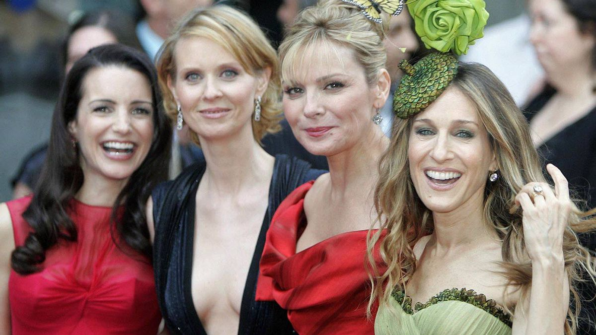 Kristin Davis, Cynthia Dixon, Kim Cattrall and Sarah Jessica Parker at the London premiere of the film Sex and the City.