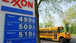 An Exxon gas station in Washington, D.C., shows gas prices hovering around $5 (U.S.) a gallon.
